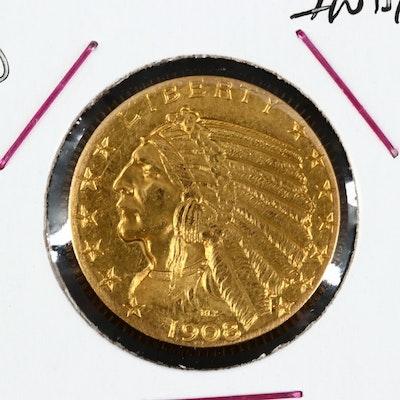 1908-D Indian Head $5.00 Gold Half Eagle