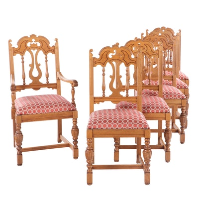 Six Mt. Airy Chair Co. Victorian Style Oak Dining Chairs, Mid to Late 20th C.