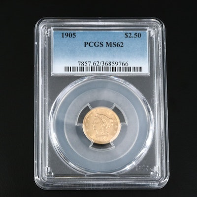 PCGS Graded MS62 1905 $2.50 Gold Quarter Eagle