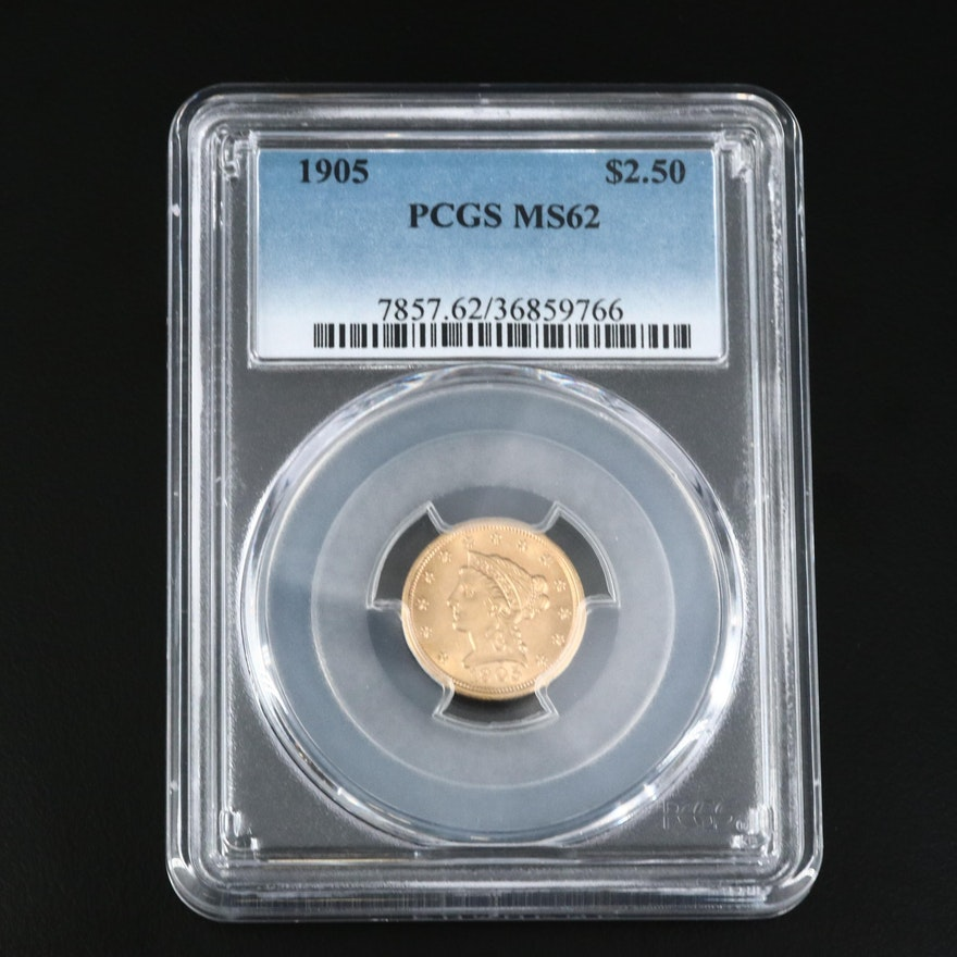 PCGS Graded MS62 1905 $2.50 Gold Quarter Eagle
