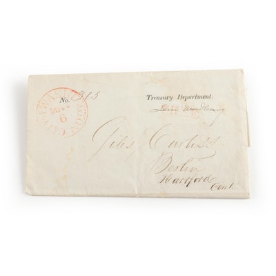 1835 Levi Woodbury Signed Envelope and Letter, COA