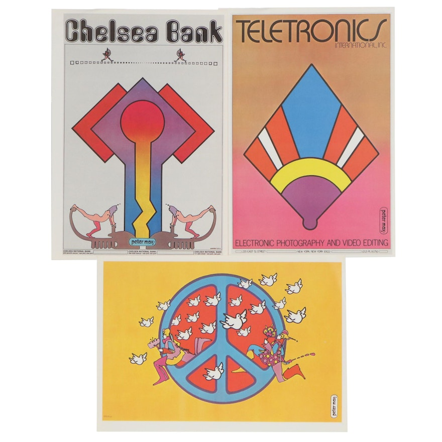 """Peter Max Offset Lithographs from """"The Peter Max Poster Book,"""" 1970"""
