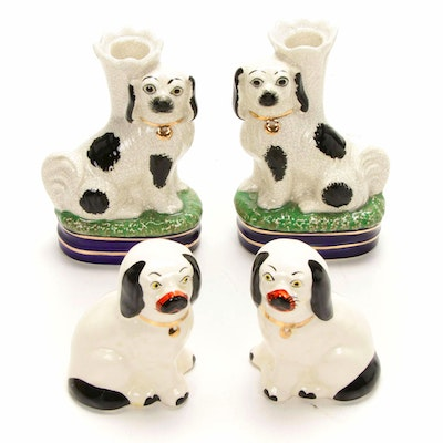 Staffordshire Style Spaniel Figurines and Candlesticks Including Fitz & Floyd