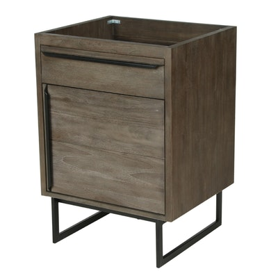 "24"" ""Lappland"" Teak Gray Finish Bathroom Vanity Cabinet"