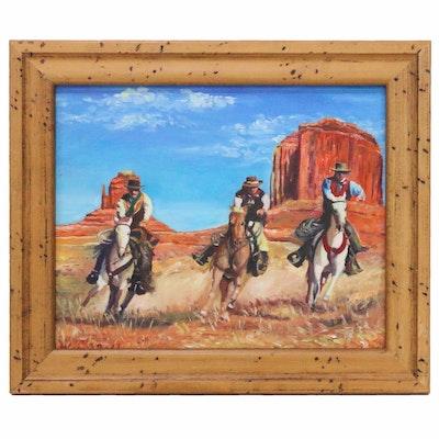 Western Scene Oil Painting of Cowboys, 2017