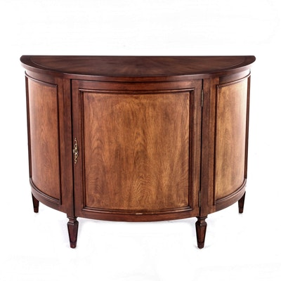 Contemporary Mahogany Three-Door Demilune Console Cabinet