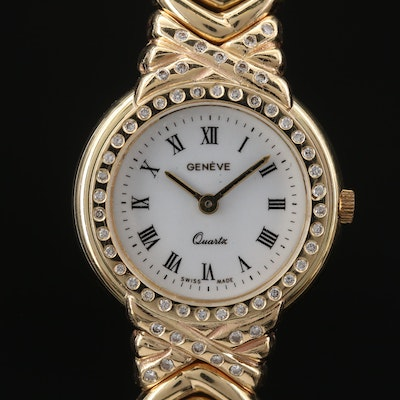 Geneve 14K Gold and Diamond Quartz Wristwatch