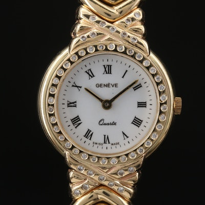 Geneve 14K Gold and Diamond Quartz Wristwatch