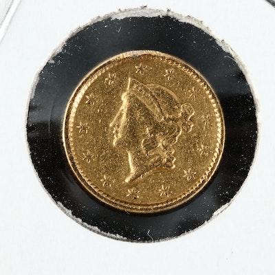 1854 Liberty Head $1 Gold Coin Coin