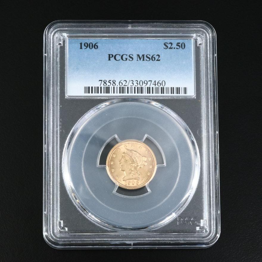 PCGS Graded MS62 1906 $2.50 Gold Quarter Eagle