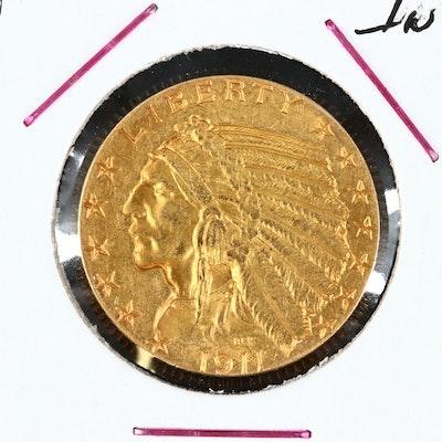 1911 Indian Head $5 Gold Half Eagle