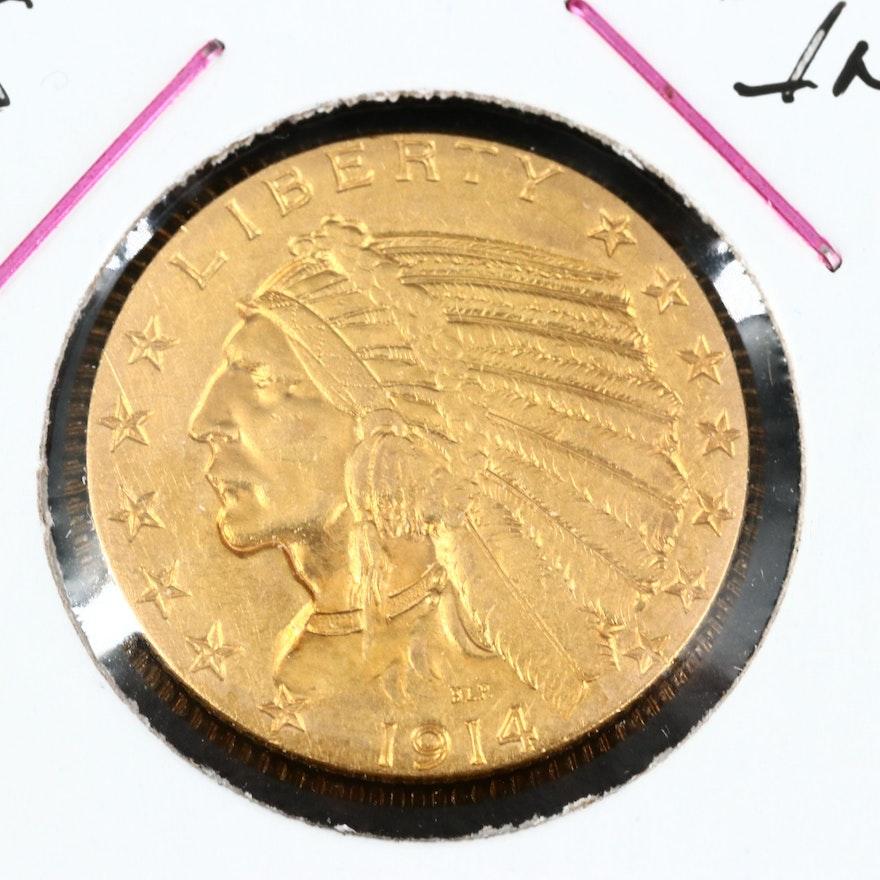 Key Date 1914-S Indian Head $5 Gold Half Eagle