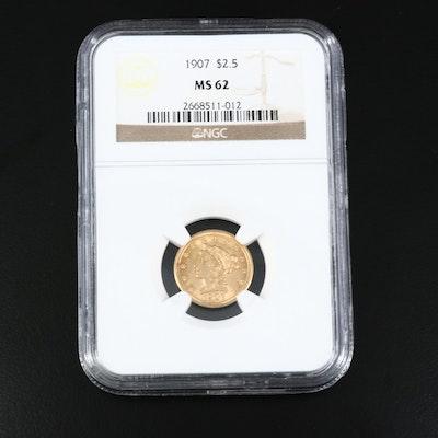 NGC Graded MS62 1907 $2.50 Gold Quarter Eagle