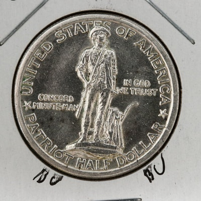 1925 Lexington Concord Sesquicentennial Commemorative Silver Half Dollar