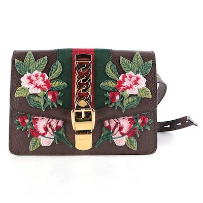 Gucci Sylvie Floral Embroidered Leather Belt Bag