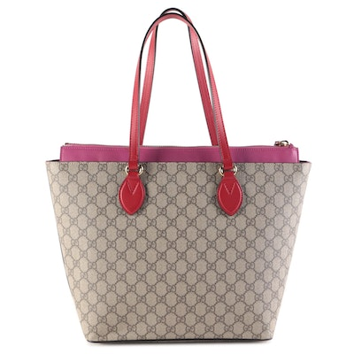 Gucci GG Supreme Linea A Medium Zip Tote in Coated Canvas with Leather Trim