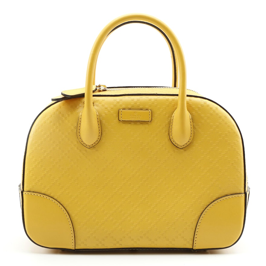Gucci Top Handle Bag in Yellow Diamante Leather with Detachable Shoulder Strap