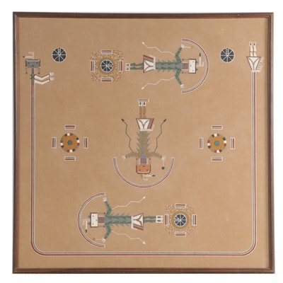 """Thunder Stevens Navajo Sand Painting """"Red Ant Way Chant,"""" Late 20th Century"""