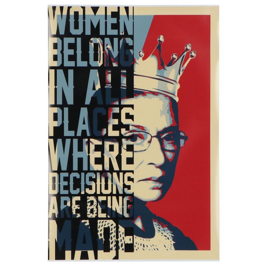 Pop Art Giclée of Ruth Bader Ginsburg, 21st Century