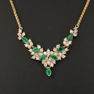 14K Emerald and 2.12 CTW Diamond Necklace