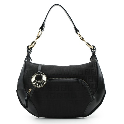 Fendi Zucchino Chef Pocket Hobo Bag in Black Jacquard and Leather