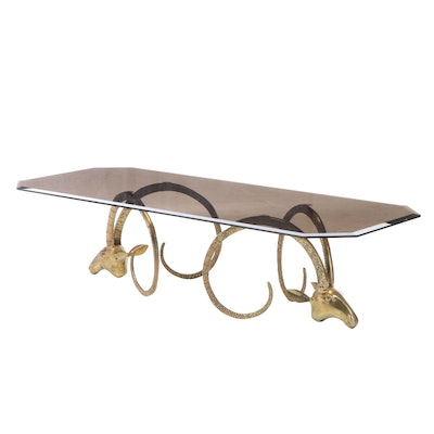 Polished Brass Ibex Rams Head Coffee Table with Glass Top