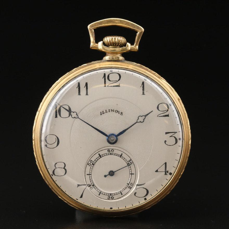 1925 Illinois Autocrat 14K Gold Filled Open Face Pocket Watch