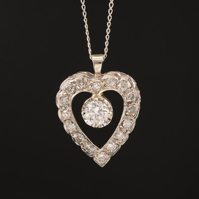 14K Diamond Open Heart Necklace