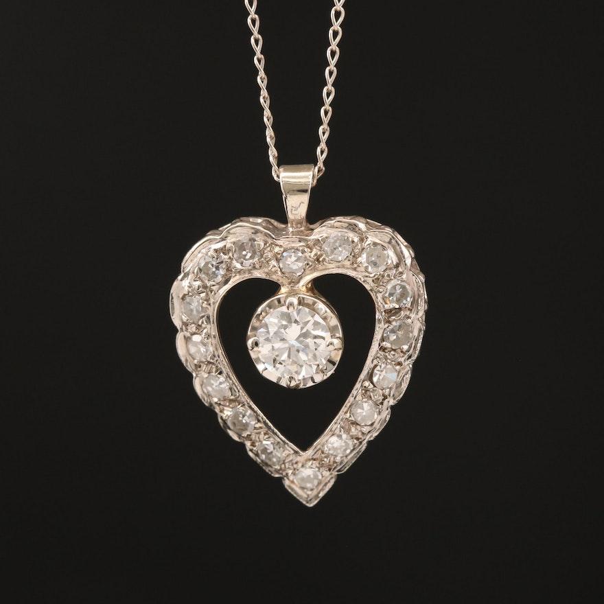 14K Diamond Open Heart Necklace