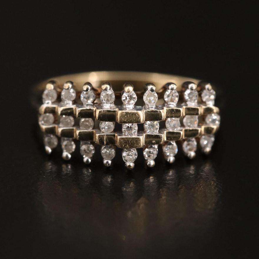 10K Stepped Diamond Ring