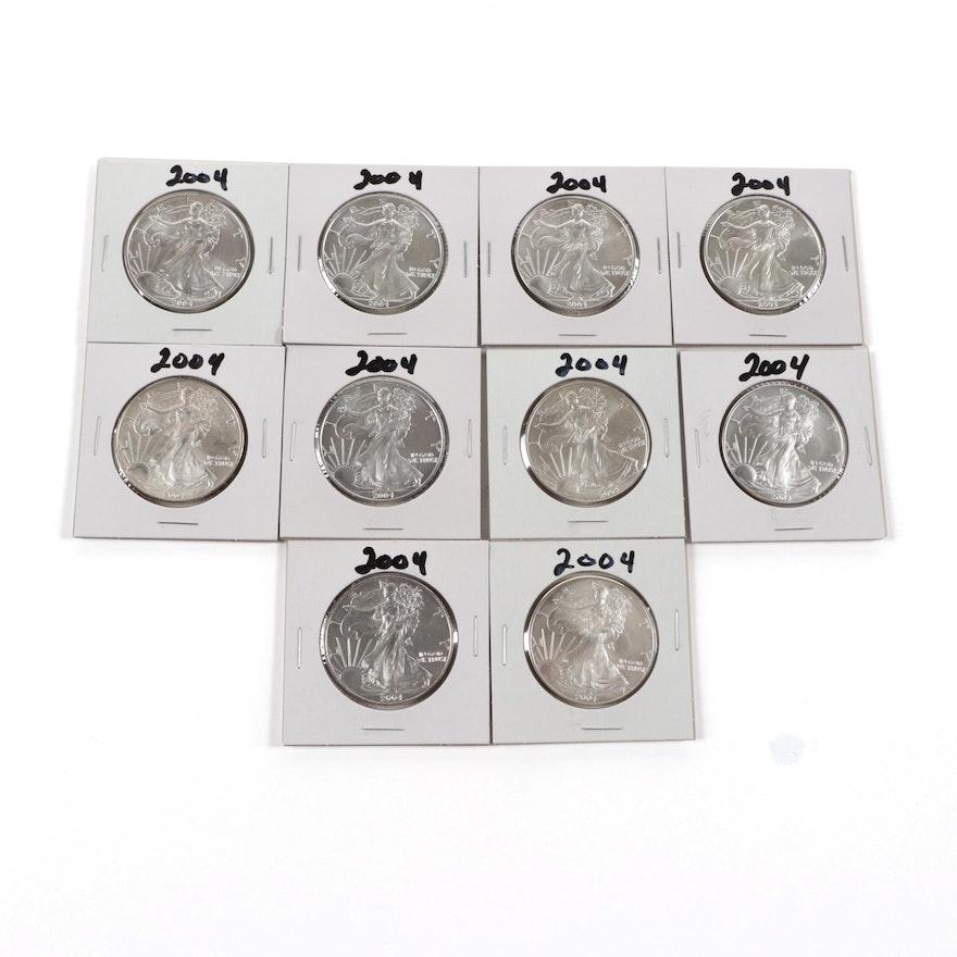 Ten 2004 American Silver Eagle Bullion Coins
