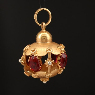 Etruscan Style 18K Red Glass Pendant