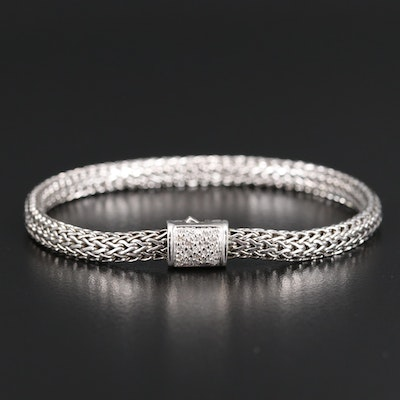 "John Hardy ""Classic Chain"" Sterling Silver Diamond Bracelet with 18K Accent"