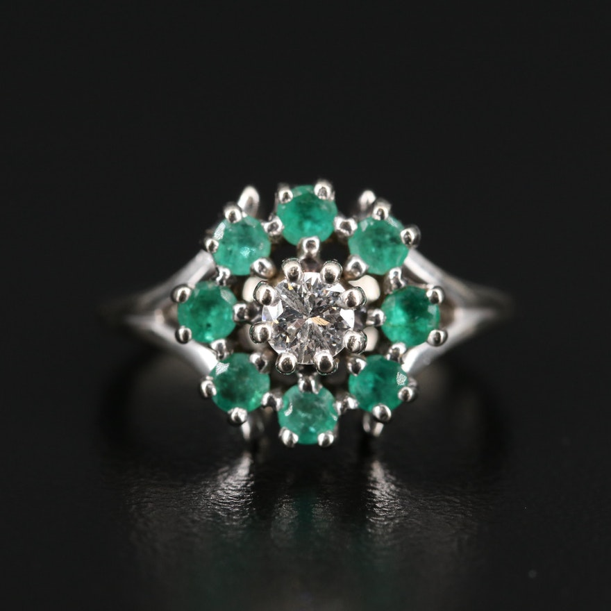 14K Diamond Ring Encircled by Emeralds