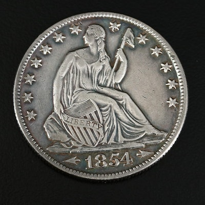 "1854-O Seated Liberty ""Arrows No Rays"" Silver Half Dollar"