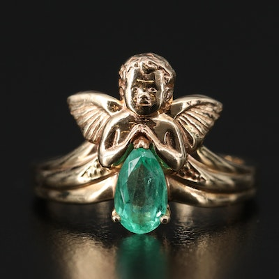 14K Emerald Praying Angel Ring