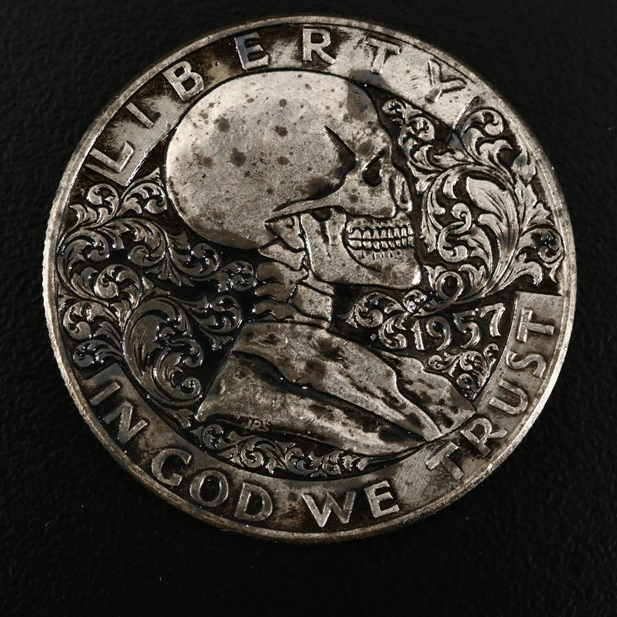 """Hobo"" Style 1957 Franklin Silver Fantasy Half Dollar"