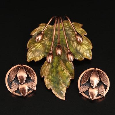 Matisse Renoir Enameled Leaf Brooch and Clip Earring Set