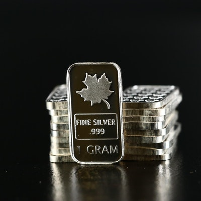 Twenty 1 Gram .999 Fine Silver Ingots
