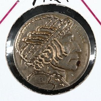 "Contemporary ""Hobo"" Style 1937-D Buffalo Nickel"