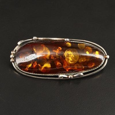 Amber Oval Converter Brooch