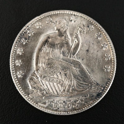 "1855-O Seated Liberty ""Arrows No Rays"" Silver Half Dollar"
