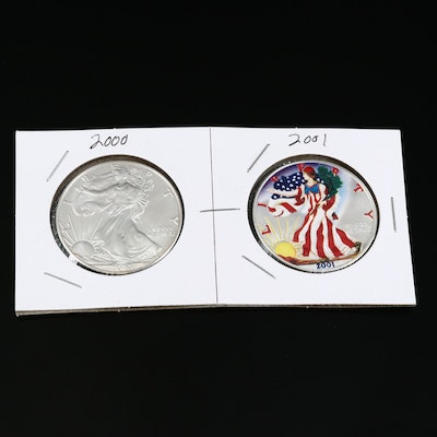 Pair of Bullion Silver Eagles Including Colorized 2001