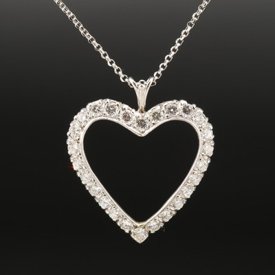 14K 2.52 CTW Diamond Open Heart Pendant on Le Vian Chain Necklace