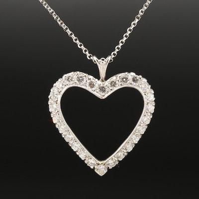 14K 2.52 CTW Diamond Open Heart Pendant on Le Vian Chain Necklace