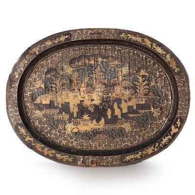 French Chinoiserie Hand-Painted Wood Tray Tabletop, Late 19th Century