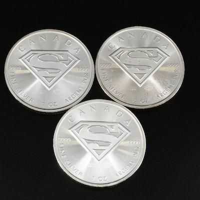 Three 2016 Canadian $5 Superman Themed 1-Oz. Fine Silver Bullion Coins