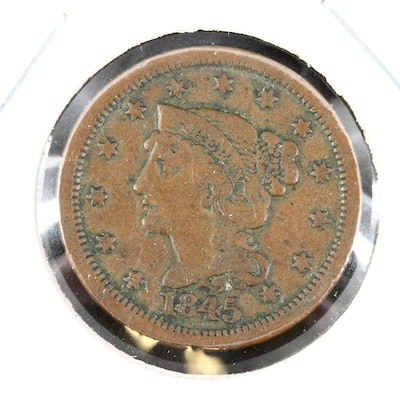 1845 Braided Hair Coronet Large Cent