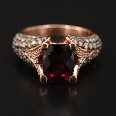 Le Vian 14K Garnet and 1.26 CTW Diamond Ring