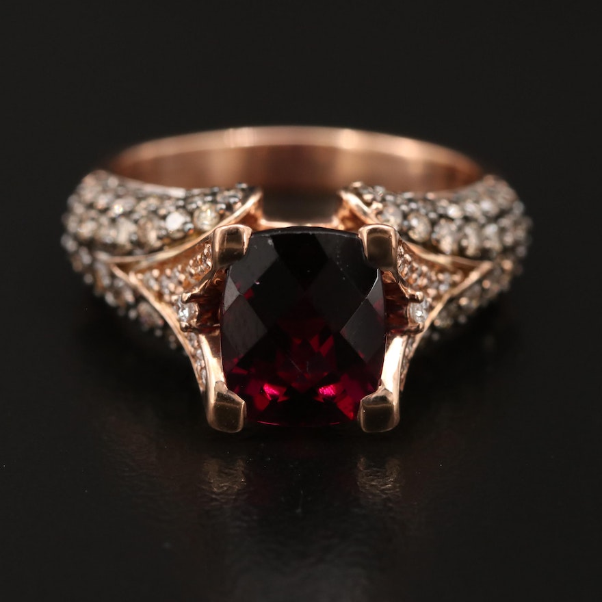 Le Vian 14K Garnet and 1.26 CTW Diamond Ring